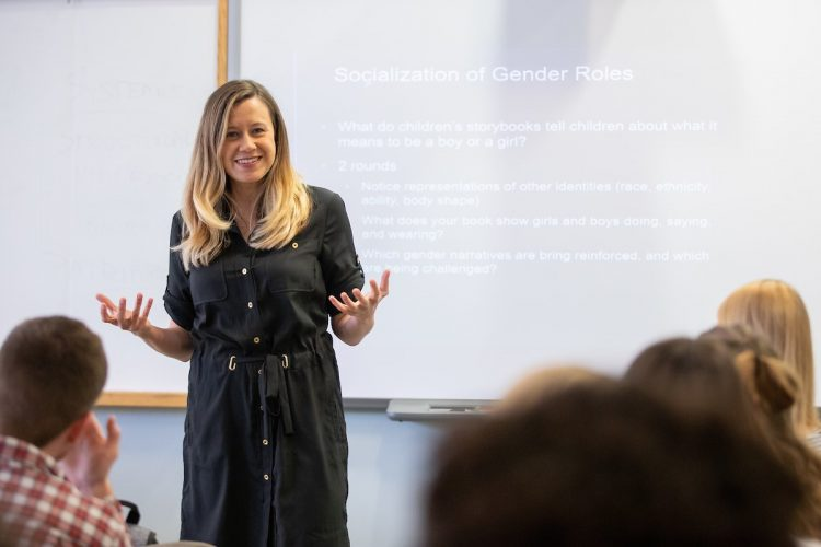 Psychology professor Sara Beck lectures during one of her classes at Randolph