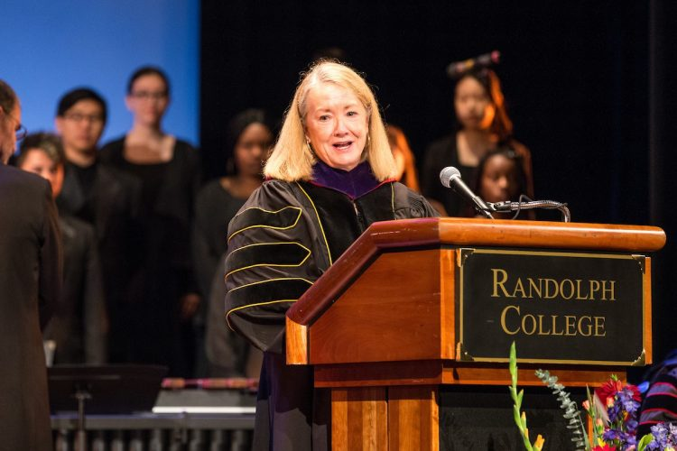 Cathy Havener Greer speaks at the 125th Anniversary Convocation in 2016.