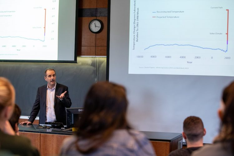 "Eban Goodstein gives the lecture ""How to Solve Climate by 2030"" to Randolph environmental studies and science students and other members of the Randolph community."