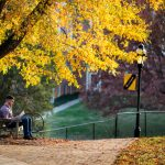 A student studies on a bench surrounded by fall colors