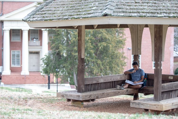 A student studies on front campus
