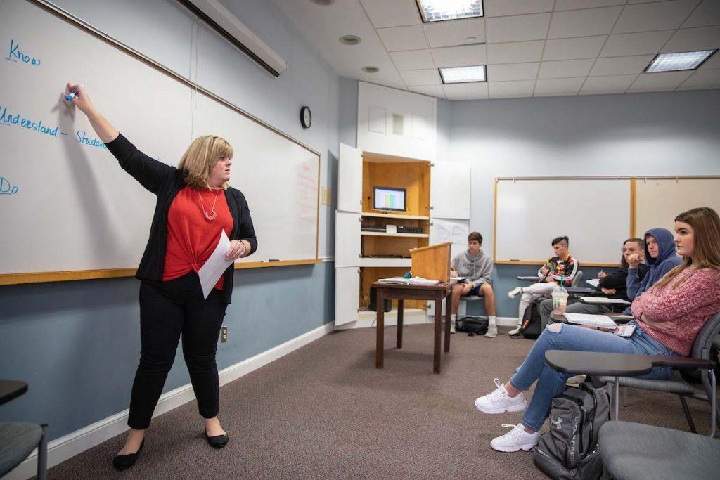 Education professor Crystal Howell teaches a class earlier this semester.