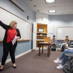 Education professor Crystal Howell teaches a class earlier this semester.