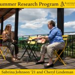 Sabrina Johnson '21 and education professor Cheryl Lindeman discuss their summer research project in downtown Lynchburg.