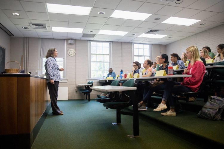 Professor Sarah Sojka teaches during the 2018 Step Up to the Physical Sciences and Engineering at Randolph (SUPER) program.