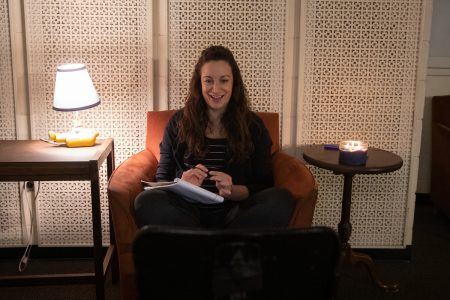Theatre professor Stephanie Earl records a tutorial for students taking her class this semester.