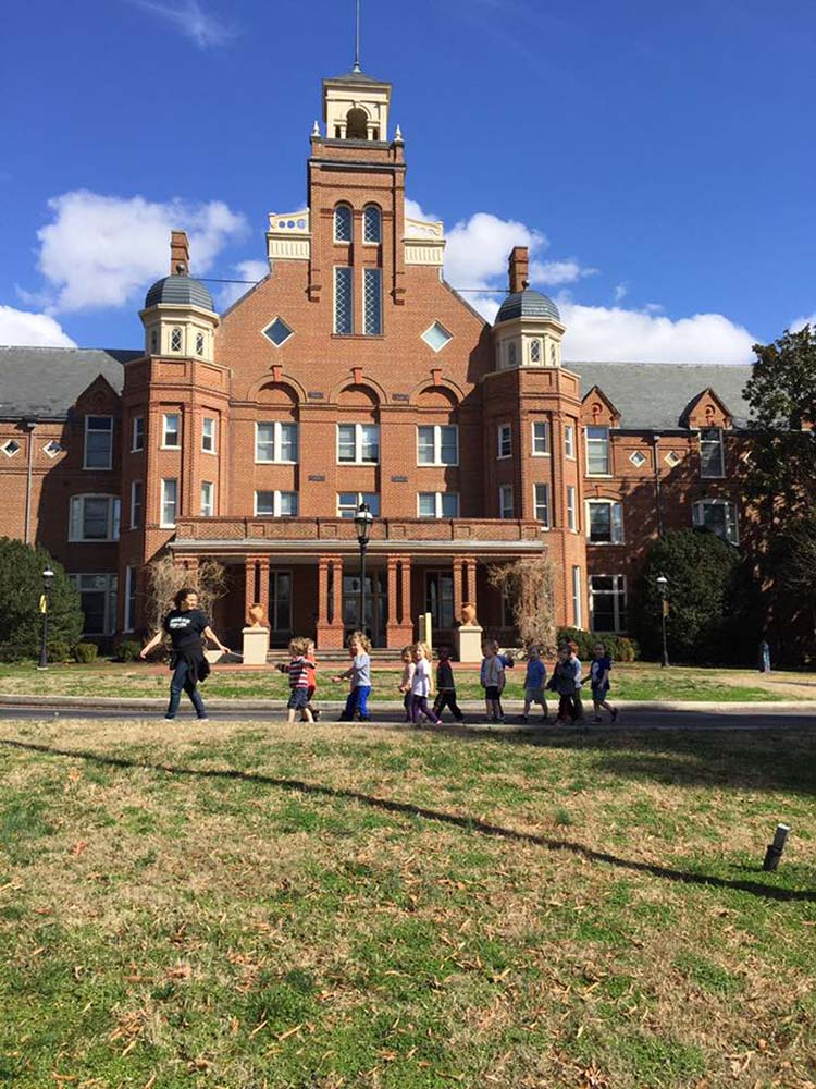 Taking a walk around campus at Randolph College Nursery School