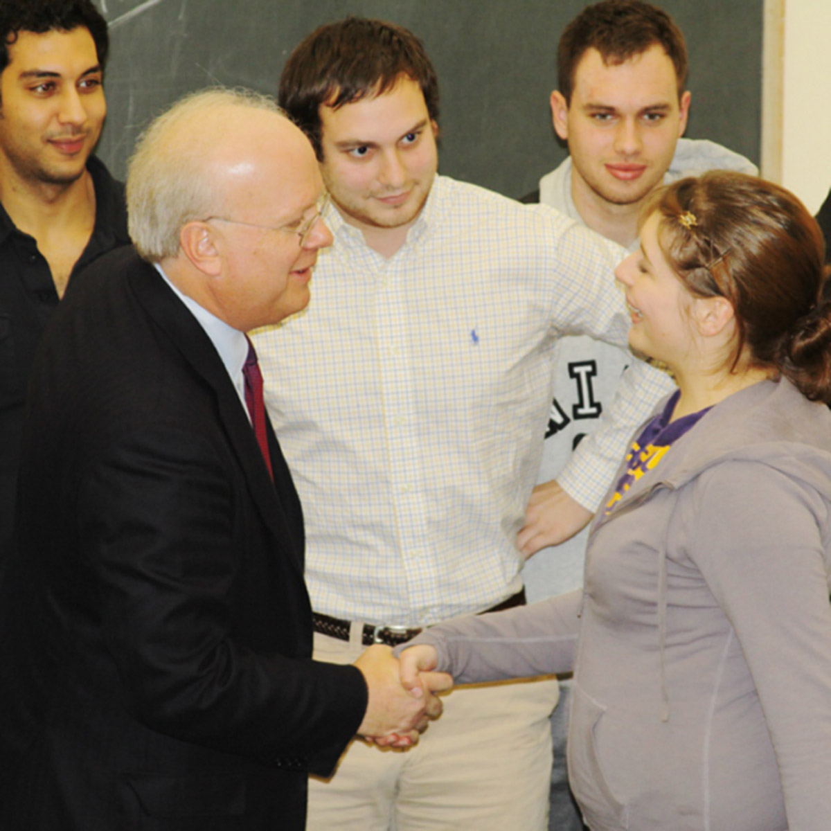 Republican political strategist Karl Rove meets with Randolph students prior to a lecture on campus.