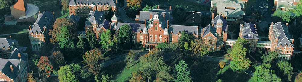 Aerial photo of Main Hall at Randolph College