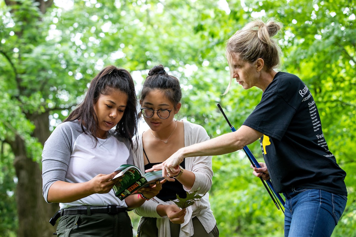 (from left) Ranjitkar, Jin, and Warren consult a field guide during one of their forest inventories