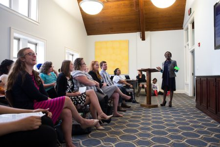 Yolanda Cobblah '17 presents her research during the 2017 Symposium of Artists and Scholars