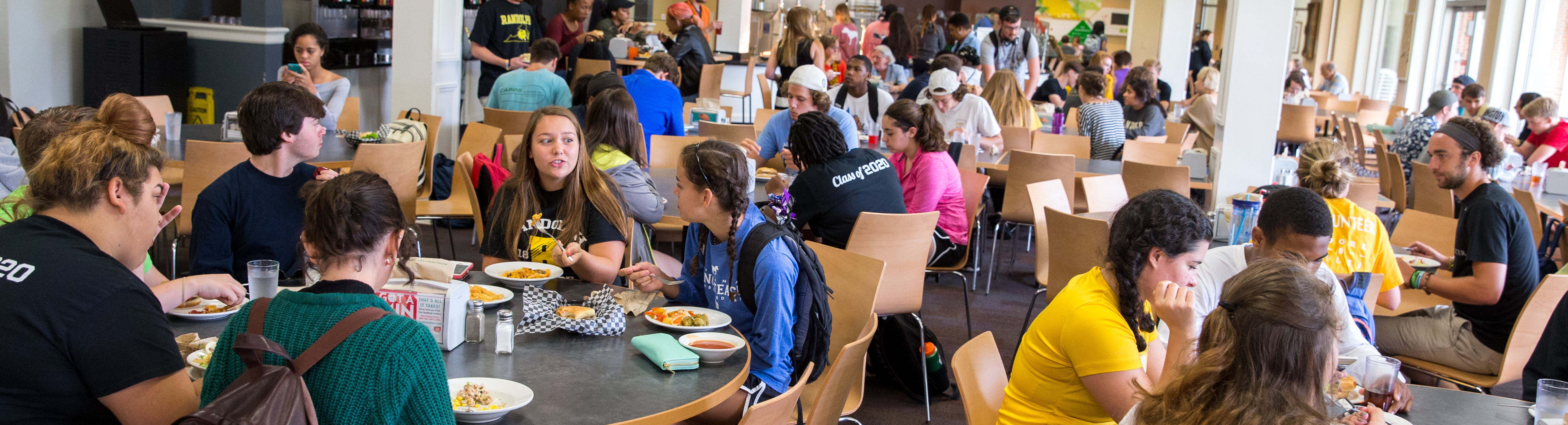 Student in dining hall