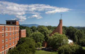 Houston Memorial Chapel and the Blue Ridge Mountains as seen from the window of room 400 in Wright Residence Hall.