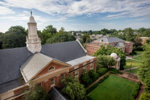 View of the Lipscomb Library steeple, Mary's Garden, and the Engagement Tower as seen from the window of room 402 in Moore Residence Hall.