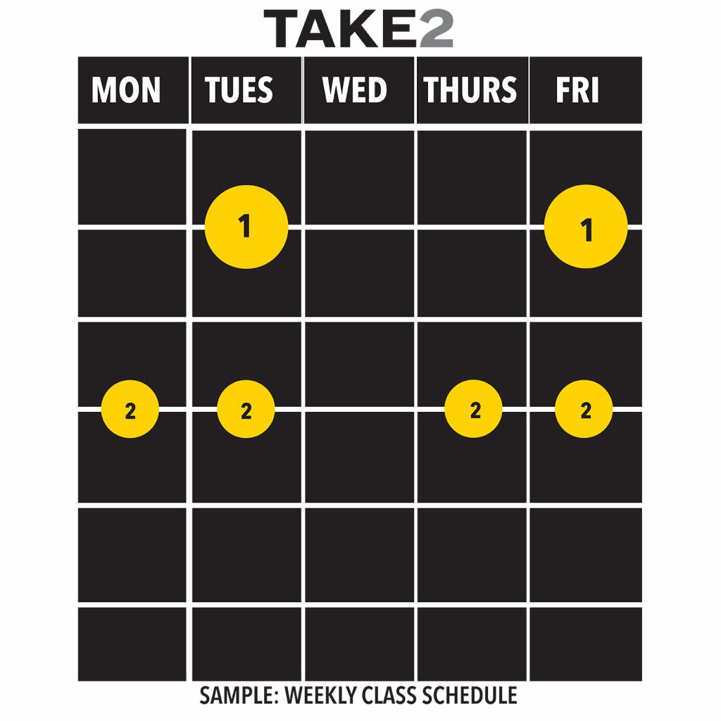 Sample class schedule under TAKE2