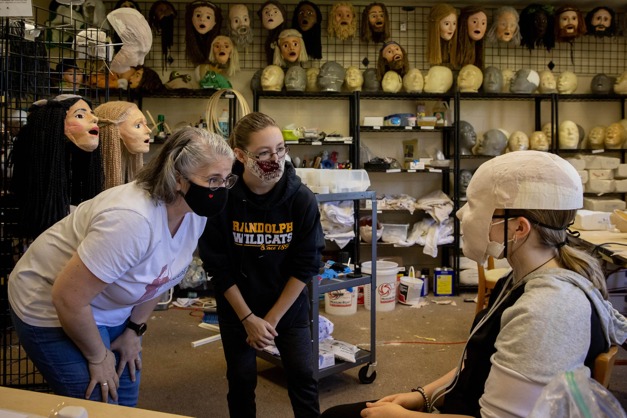 Masks are custom made and scientifically designed to project the actor's voice.