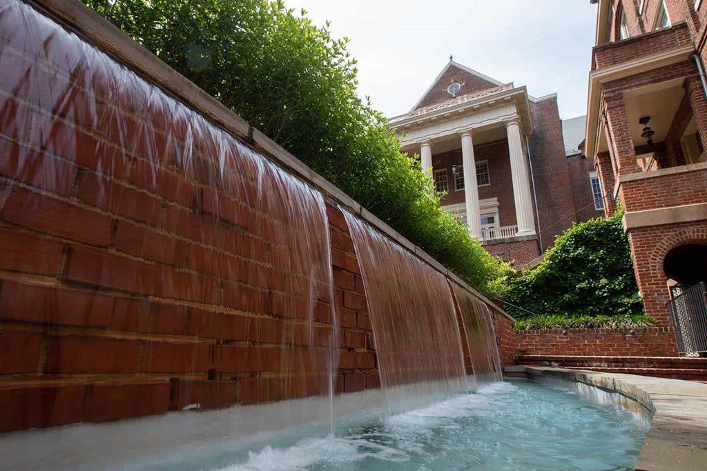 Cheatham Dining Hall fountain at Randolph College