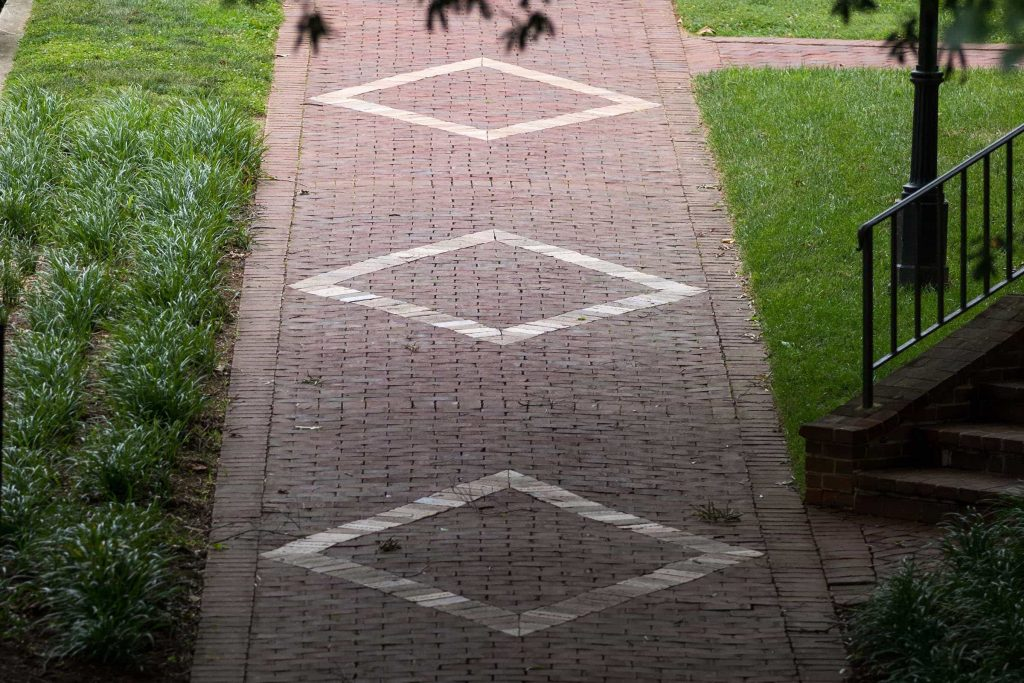 Diamonds in the red brick pathways at Randolph College